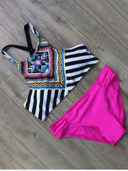 Striped Criss Cross Boho Bikini Set