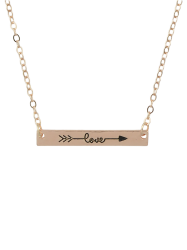 Arrow Rectangle Bar Pendant Necklace