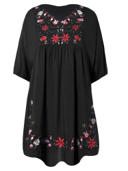 V Neck Embroidered Shift Casual Dress - BLACK ONE SIZE