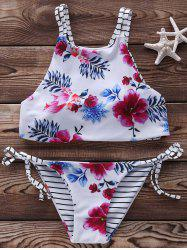 Floral High Neck 2 Piece Swimsuit - WHITE