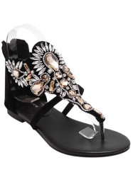Gorgeous Artificial Jewel and Flat Heel Design Sandals For Women - BLACK