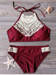 Lace Spliced Cut Out Halter Top Bikini - RED