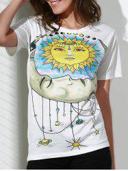 Round Neck Short Sleeve Sun Print Women's T-Shirt