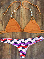 Halterneck Geometric Pattern Women's Bikini Set