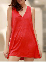 Stylish Plunging Neck Sleeveless Red Faux Suede Women's Dress