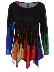 Splatter Paint Handkerchief Tunic T-Shirt -