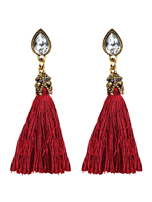 Cheap Rhinestone Water Drop Tassel Earrings