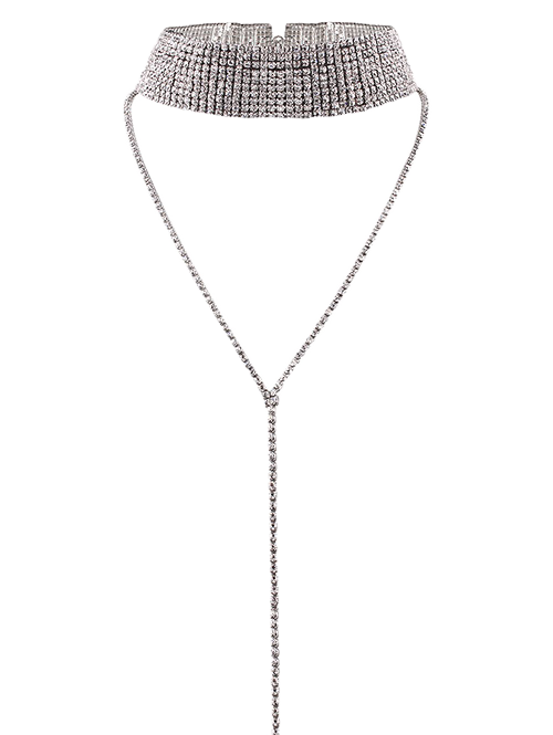 Long Wide Rhinestone Choker NecklaceJEWELRY<br><br>Color: SILVER; Item Type: Chokers Necklace; Gender: For Women; Material: Rhinestone; Metal Type: Silver Plated; Style: Trendy; Shape/Pattern: Geometric; Weight: 0.0500kg; Package Contents: 1 x Necklace;