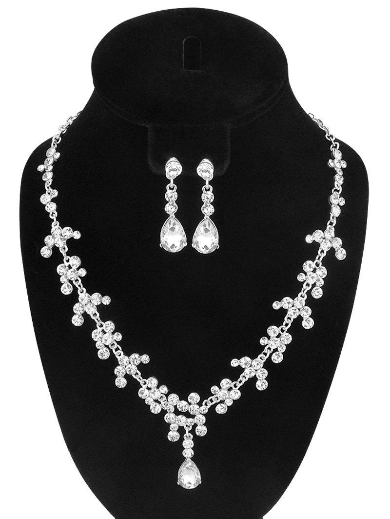 Chic Rhinestone Teardrop Necklace and Earrings