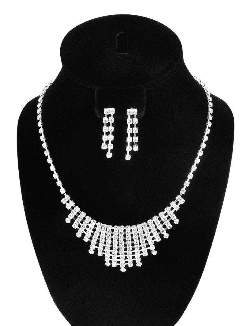 Discount Rhinestone Hollow Out Necklace and Earrings