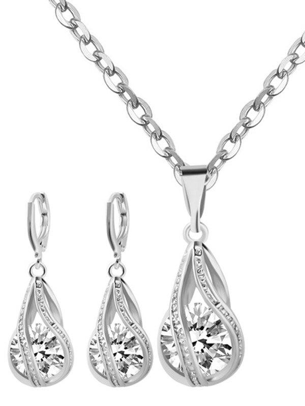 Rhinestone Water Drop Wedding Jewelry SetJEWELRY<br><br>Color: SILVER; Item Type: Pendant Necklace; Gender: For Women; Style: Noble and Elegant; Shape/Pattern: Water Drop; Weight: 0.0600kg; Package Contents: 1 x Necklace 1 x Earring (Pair);