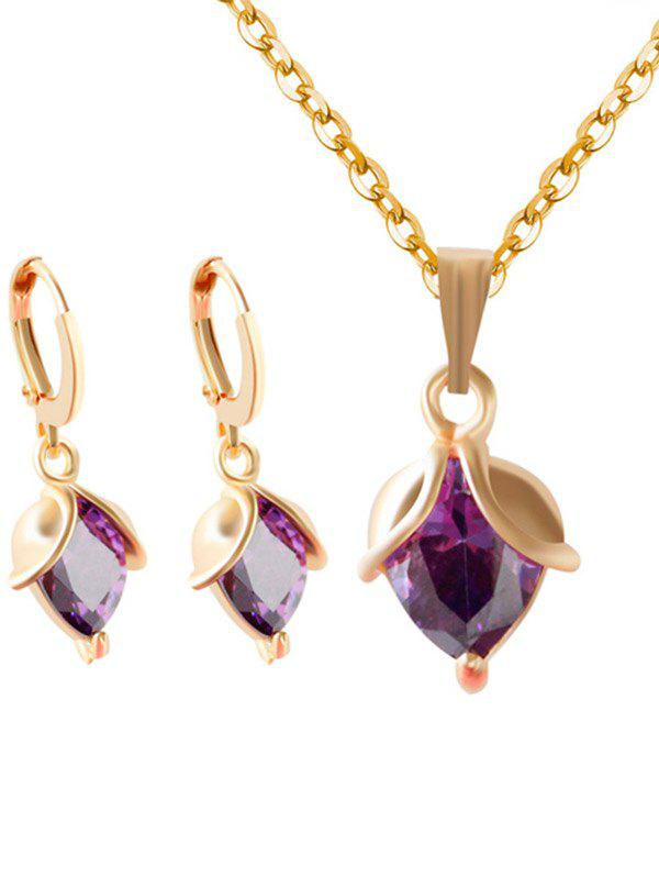 Faux Amethyst Crystal Wedding Jewelry SetJEWELRY<br><br>Color: PURPLE; Item Type: Pendant Necklace; Gender: For Women; Style: Noble and Elegant; Shape/Pattern: Others; Weight: 0.0600kg; Package Contents: 1 x Necklace 1 x Earring (Pair);
