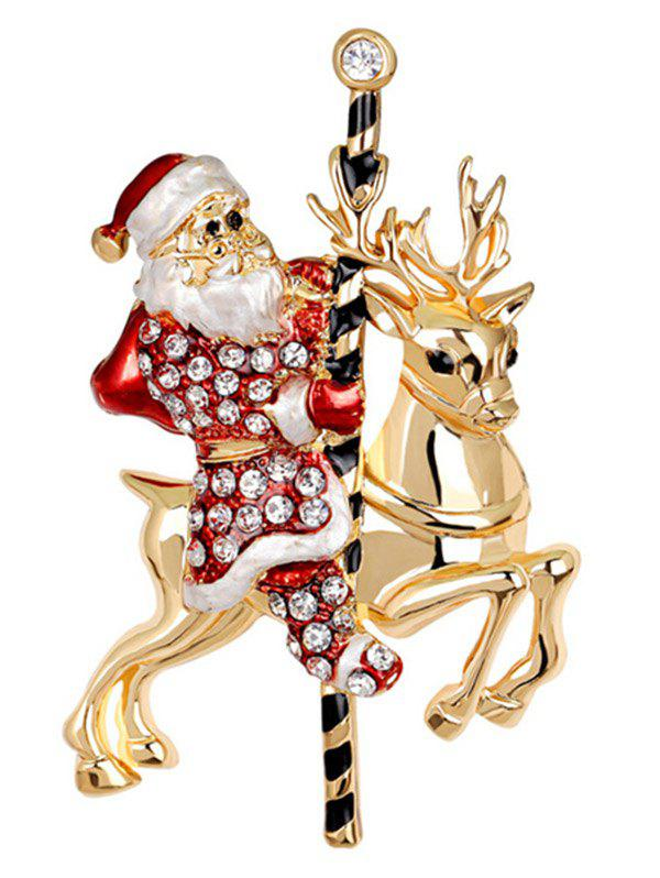 Santa Reindeer BroochJEWELRY<br><br>Color: RED; Brooch Type: Brooch; Gender: For Women; Material: Rhinestone; Metal Type: Gold Plated; Style: Trendy; Shape/Pattern: Others; Weight: 0.0300kg; Package Contents: 1 x Brooch;