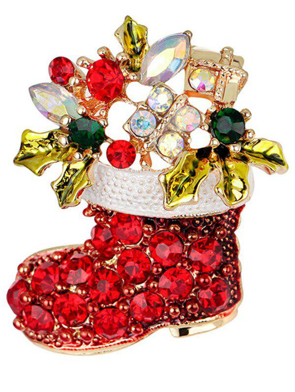 Christmas Shoe BroochJEWELRY<br><br>Color: RED; Brooch Type: Brooch; Gender: For Women; Material: Semi-Precious Stone; Metal Type: Gold Plated; Style: Trendy; Shape/Pattern: Others; Weight: 0.0300kg; Package Contents: 1 x Brooch;