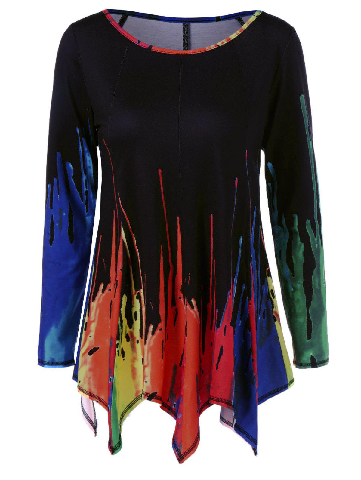 Latest Splatter Paint Handkerchief Tunic T-Shirt