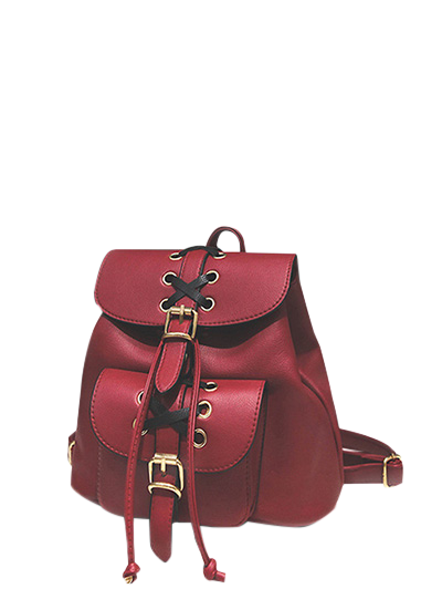 Criss Cross PU Leather Backpack