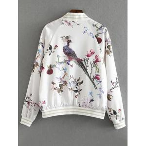 Fashion Stand Collar Long Sleeve Floral Print Jacket For Women -