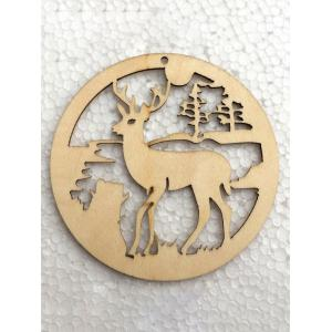 5PCS Wooden Hollow Out Deer Christmas Hangers Party Decoration - WOOD