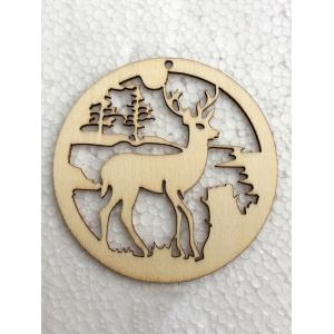 5PCS Wooden Hollow Out Deer Christmas Hangers Party Decoration -