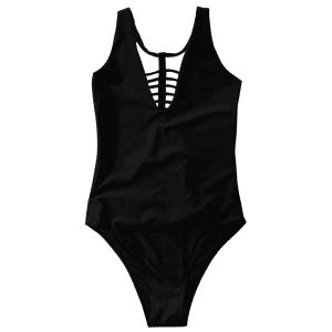 Plunge Strappy One-Piece Swimwear - BLACK L