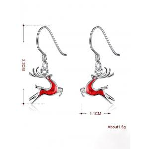 Enamel Christmas Elk Silver Plated Earrings - RED