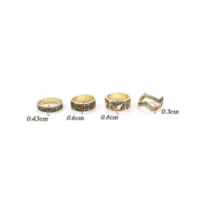 Chic Tribal Style Carve Golden Rings -