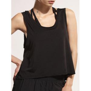 Sporty U Neck Backless Running Tank Top - BLACK S