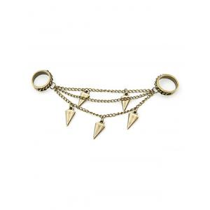 Chic Triangle Cone Chain Pendant Double Rings -