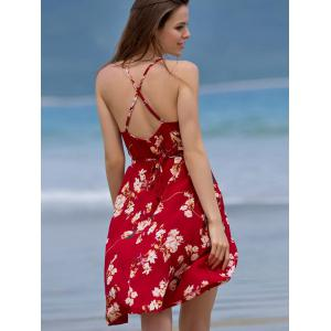 Stylish Spaghetti Straps Sleeveless Backless Floral Print Women's Dress -