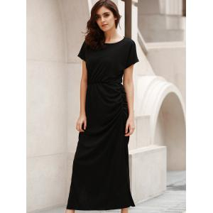 Round Neck Short Sleeve Open Back Ruched Maxi Dress -