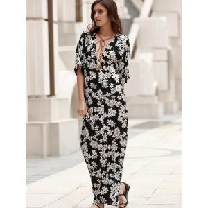Plunging Neck Lace-Up Printed Maxi Boho Dress - BLACK XL