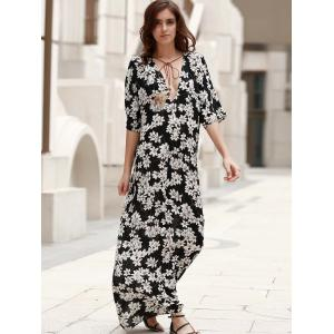 Elegant Plunging Neck Lace-Up Printed Women's Boho Dress - BLACK XL