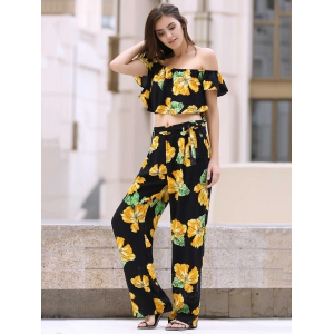 Off The Shoulder Ruffle Floral Crop Top and Printed Palazzo Pants Twinset -
