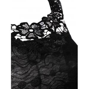 Lace Floral Scalloped Edge Tank Top - BLACK ONE SIZE(FIT SIZE XS TO M)