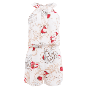 Stylish Floral Print Cropped Top and Shorts Twinset For Women -