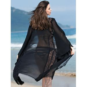 Sexy Bell Sleeve Openwork Lace Spliced Cover Up For Women - BLACK 2XL