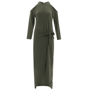 Cold Shoulder Asymmetric Knitted Maxi Jumper Dress - BLACKISH GREEN L