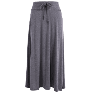 Lace Up taille haute Maxi jupe - Gris Foncu00e9 TAILLE MOYENNE