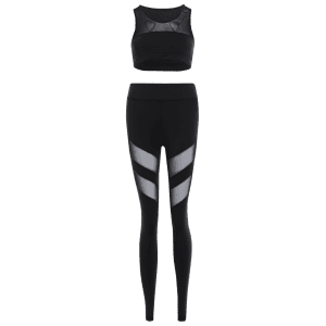 Mesh Tank Top Panel and Stretch Pantalon Yoga Suit - Noir L