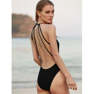 Backless Cut Out Strappy One Piece Swimsuit - BLACK S