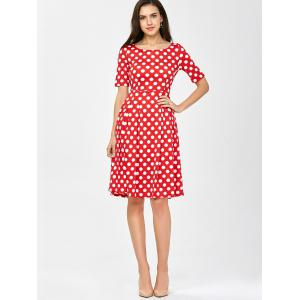 Polka Dot A Line Knee Length Dress - RED S