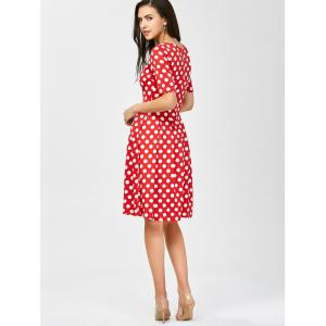 Polka Dot Formal A Line Knee Length Dress - RED S