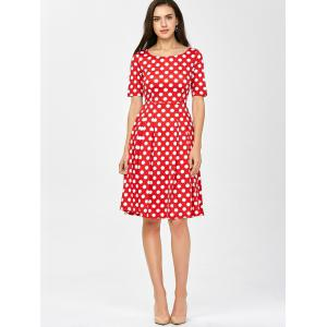 Polka Dot A Line Knee Length Dress - RED L