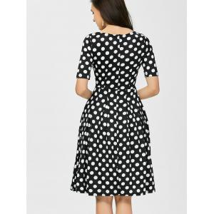 Polka Dot Formal A Line Knee Length Dress - BLACK 2XL