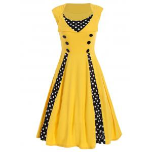 Polka Dot Sleeveless A Line Midi Dress - Yellow - S