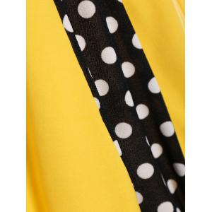 Polka Dot Sleeveless A Line Dress - YELLOW L
