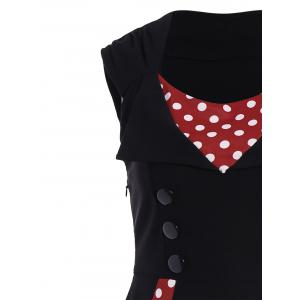 Polka Dot Sleeveless A Line Midi Dress -