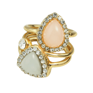 Rhinestone Faux Opal Water Drop Rings - GOLDEN ONE-SIZE