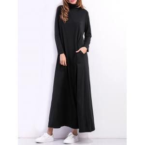 High Neck Maxi Long Sleeve Casual Dress