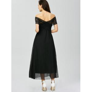 Off Shoulder Lace Panel Maxi Prom Dress - BLACK L